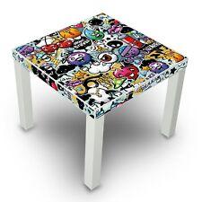 Beistelltisch 55x45x55cm weiß Design Tisch mit Motiv Kleine Kreaturen Couchtisch