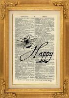ORIGINAL - Bee Happy Art Print on Vintage Dictionary Page-Wall Hanging - NO.471B