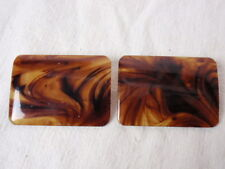 Shoe Clips Plastic Celluloid Faux Tortoise Shell Brown Vintage 1960s Rectangular
