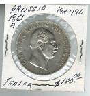 1861 A Prussia  Thaler Silver Coin KM 490