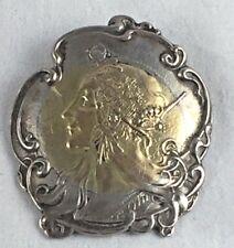 Rare Shiebler Sterling & 14K Gold Large Woman Homeric/Medallion Pin/Brooch
