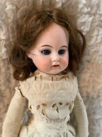 "ERNST HEUBACH ANTIQUE DOLL 19"" MOLDED UPPER TEETH GLASS SLEEP EYES LEATHER BODY"