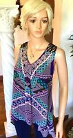 Daniel Rainn L Purple Chiffon Tank Top Black Crochet Babydoll Blouse $64 NWT