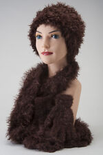 Soft Cozy CHEMO HAT SCARF GLOVE SET Brown Cancer Patient Gift FREE SHIPPING! Cap