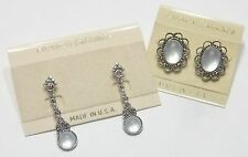 Opaque White Victorian Gothic Steampunk Styled  pierced Earrings  ...  #138
