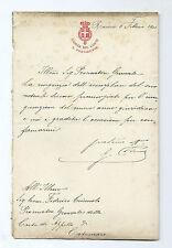 Lettera Autografo Presidente Corte dei Conti Gaspare Finali Patriota Roma 1900