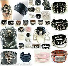 Leather Bracelets Punk Rock Goth Wristbands Cuffs Bracelets Watch Wristband White 5 Bullets 8ins