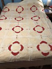 Unusual Antique Handmade Applique Red White Quilt Top