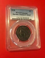 1838 MATRON CENT PCGS GENUINE HARSHLY CLEANED FINE DETAILS