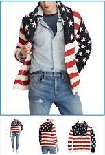 Polo Ralph Lauren Men Star & Stripe US American Flag Shawl Cardigan Sweater XL