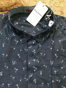 Tommy Bahama Geo Martini Print Button Shirt Mens Size 4XLT Tall Gray NWT $160.00