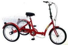"Ultimate Hardware Adults 20"" Wheel 6 Speed Folding Folder Trike Tricycle Red"