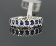 $2,950 18K White Gold Round Diamond Blue Sapphire Wedding Band Ring Size 6.5