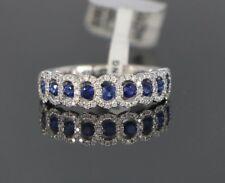 18ct Oro Blanco Redondo Diamante Zafiro Azul Anillo De Boda Tamaño 6.5