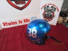 Vintage LSI  Blue Metalflake Helmet Sparkle Flake Old School Custom Silver Leaf