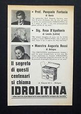 C771 - Advertising Pubblicità- 1953 - IDROLITINA IL SEGRETO DEI CENTENARI