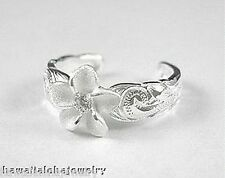 9mm Solid 925 Ster Silver Matted Hawaiian Plumeria White Cz Heritage Toe Ring