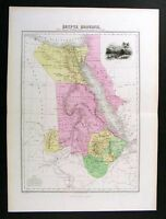 1877 Migeon Map Egypt Nubia Abyssinia Jerusalem Suez Canal Red Sea Cairo Africa