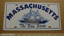 Massachusetts Bay State schooner vtg old Metal NOS 1960s License plate car tag