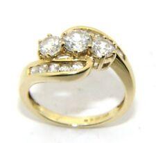 Mujer 14 Quilates 14 Amarillo Oro y Transparente Piedra Vestido Anillo Tamaño J
