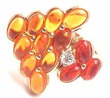 Authentic! Mauboussin Paris 18k Rose Gold Diamond Tourmaline Citrine Ring