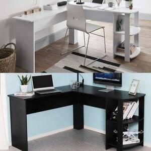 PC Corner Computer Desk L Shape Laptop Table With Shelf Home Office Workstation