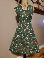 Women's Retro Style Kitchen Full Apron Handmade Green Red White Candy Cane Bow