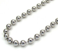 "26"" 3mm 17 Grams 10k White Real Gold Combat Army Bead Ball Chain Necklace Mens"