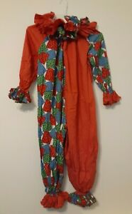 Vintage Handmade Patchwork 1970's CLOWN SUIT Costume Ruffle Child/Small Adult