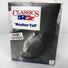 Tingley Classics Water Overshoes Sz L 10-11.5 Black Stretch Weather-Tuff Covers