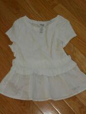NWT - Bebe Girls short sleeved white ruffle aline top - 10/12 girls
