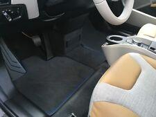 Für BMW I3 Fußmattensatz 4-teilig in Velours Deluxe anthrazit Nubukband blau