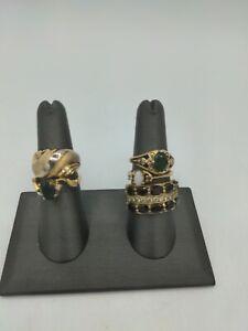 SETA Gold Plated Gemstone Ring Lot Vintage Beautiful Bling
