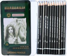12 Graphitstifte in Metallbox Bleistifte von H bis 9B