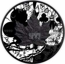 2017 1 Oz Silver Maple Leaf Clubs Skull Coin WITH 24k Black Ruthenium.