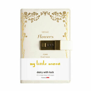 White Faux Leather Diary with Code Lock My Little Secret Notebook for Girls, A5