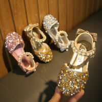 Toddler Kids Baby Girls Pearls Bling Sequins Bow Formal Princess Shoes Sandals A