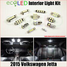 Fits 2015 VW Volkswagen Jetta WHITE LED Interior Light Accessories Kit 9 Bulbs