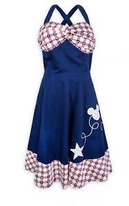 Rare Disney Parks Americana Mickey Mouse Gingham Plaid Retro Pinup Dress M