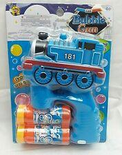 BLUE TRAIN Bubble Gun Blower Blaster w/ Flashing LED Lights & Music 2 Refill 3+