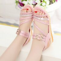 Womens Rhinestone Wedge Heels Slingback Sandals Summer Open Toe Beach Shoes Size