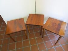 """Vintage Set 3 Solid Wood nesting Stacking Tables square 15"""" turned legs Retro"""