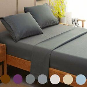 4 Bedsheet Set Deep Pocket 1800TC Soft Flat Fitted Bedding Set with Pillow Case