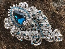 Large Crystal Rhinestone Rhinestones Peacock Fashion Brooch Pin Blue Silver Tone