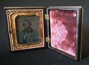 Antique Tintype Photograph Man in Gutta Percha Case w/ Velvet Interior