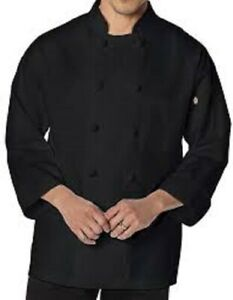 NWT DICKIES UNISEX KNOT BUTTON CHEF COAT BLACK  DC43