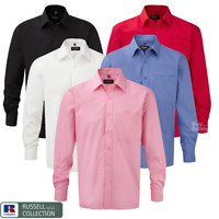 RUSSELL COLLECTION MEN'S SHIRT LONG SLEEVE 100% COTTON CLASSIC FIT SMART COLLAR