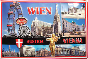 Wien Austria Vienna Blechschild Schild 3D geprägt gewölbt Tin Sign 20 x 30 cm