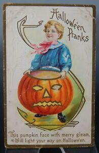 ANTIQUE HALLOWEEN POSTCARD Jack-o-lantern Halloween Pranks Pumpkin Edwardian