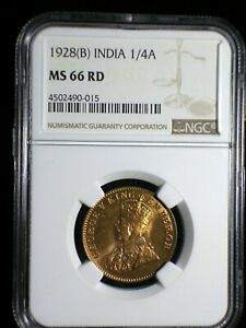 British India 1928 b 1/4 Anna *NGC MS-66 Full Red* Rare Only 2 Graded Higher
